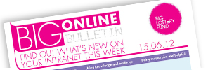 A photograph of Big Online Bulletin magazine